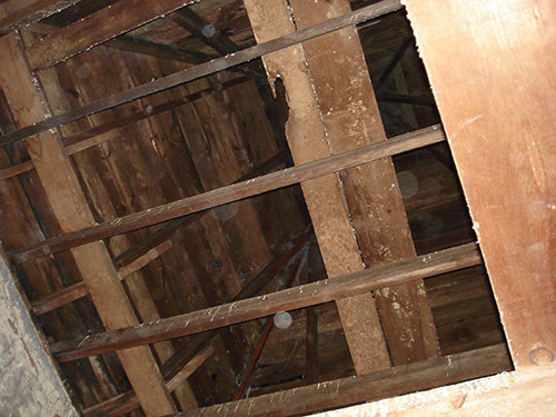 Looking into the roof structure of the front tower from the second level