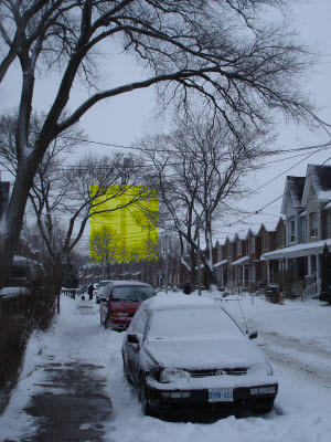 The Village by High Park crane with building mass outylined in yellow