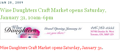 Wise Daughters Craft Market opens Saturday