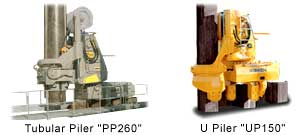 Example of the various models of the Silent Tubular Piler available