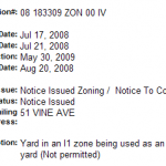 May 16th 2009  data from city inspection site