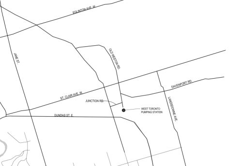 Map showing the location of the West Toronto pumping station. Map is dated January 2021, drawn by the City of Toronto